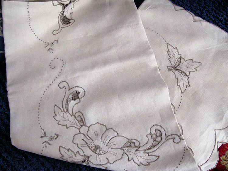 close up 2 vintage antique handmade linen tablecloth and napkins lace and embroidery