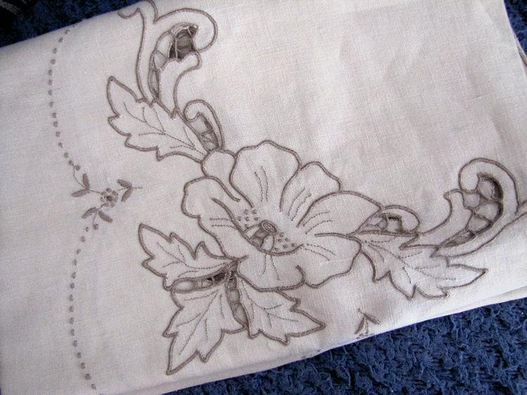close up 3 vintage antique handmade linen tablecloth and napkins lace and embroidery