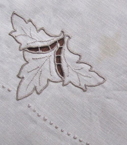close up 4 vintage antique handmade linen tablecloth and napkins lace and embroidery