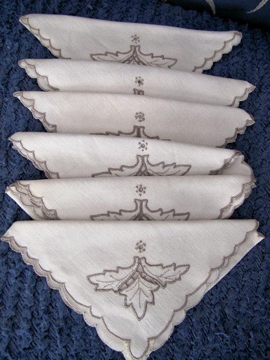 close up 5 vintage antique handmade linen tablecloth and napkins lace and embroidery