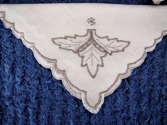 close up 6 vintage antique handmade linen tablecloth and napkins lace and embroidery