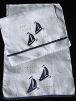 pair handmade vintage linen towels with black sailboats