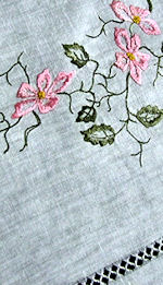 vintage antique white linen table topper society silk wild roses