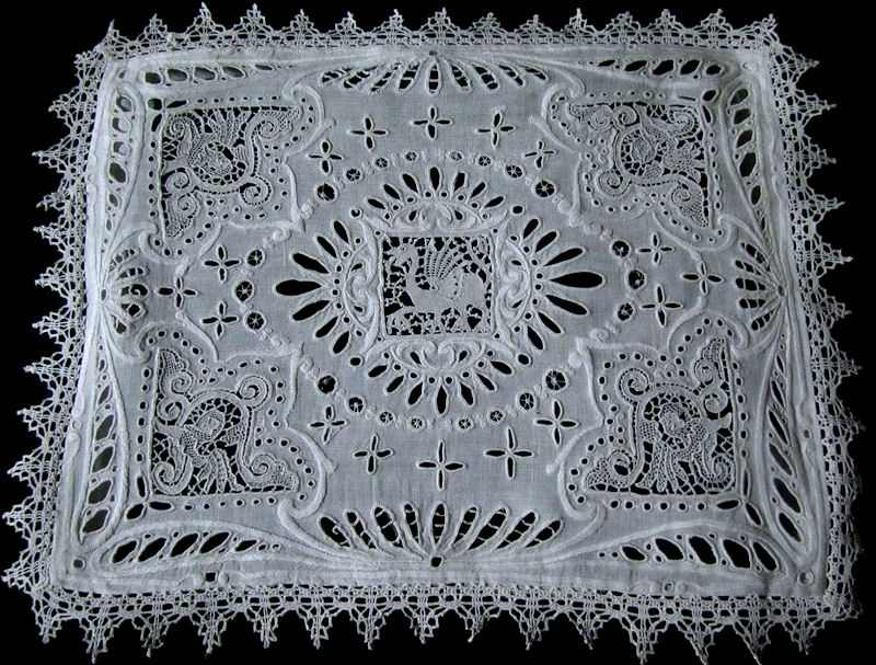 vintage antique handmade figural lace pillow cover with black insert