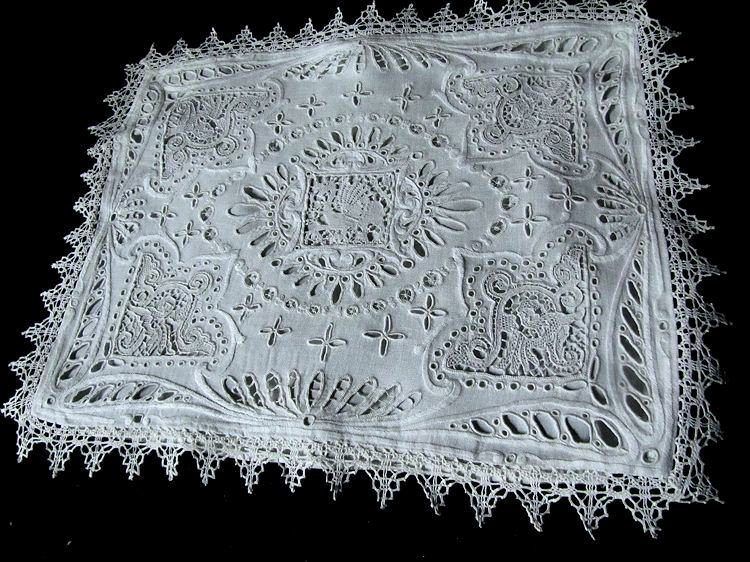 vintage antique handmade figural lace pillow cover