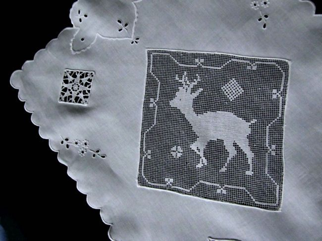 close up 3 vintage white linen table runner dresser scarf with handmade figural lace