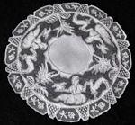 vintage carrickmacross figural lace doily