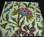 vintage antique crewel embroidered throw or accent pillow cover
