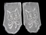 vintage pair figural lace doilies