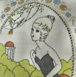 vintage arts and carfts pillow southern belle