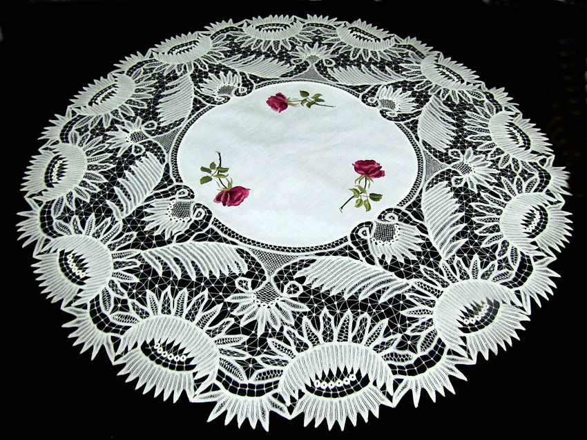 vintage antique table topper society silk embroidery and handmade lace