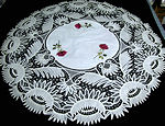 vintage antique table topper society silk embroidery handmade lace