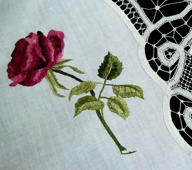 close up 3 vintage antique table topper society silk embroidery and handmade lace