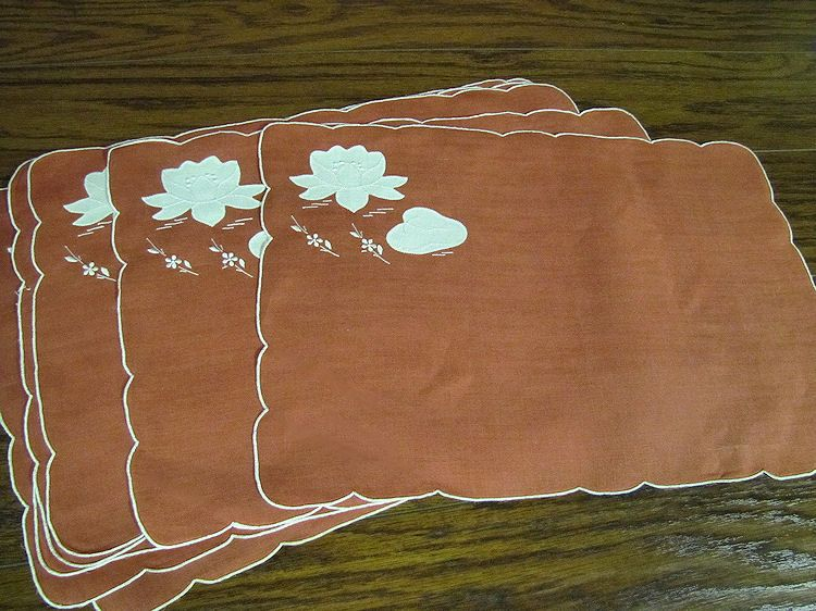 vintage red linen placemats with water lilies