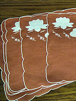 6 vintage red linen placemats with water lilies