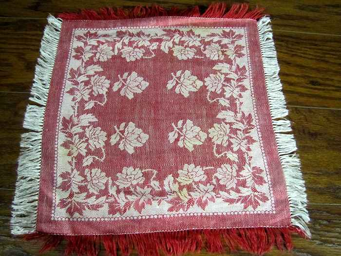 vintage antique turkey red fringed linen napkins