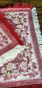 vintage linen napkins red and white damask fringe