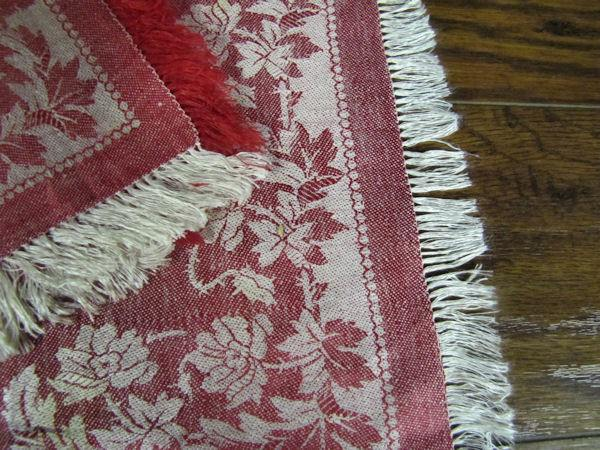 close up 2 vintage antique turkey red fringed linen napkins