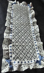 vintage antique table runner dresser scarf Alencon lace blue ribbon