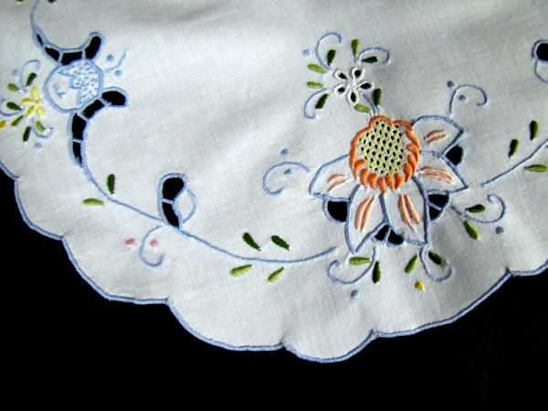 close up 2 pair vintage antique white linen doilies handmade lace and Madeira blue embroidery