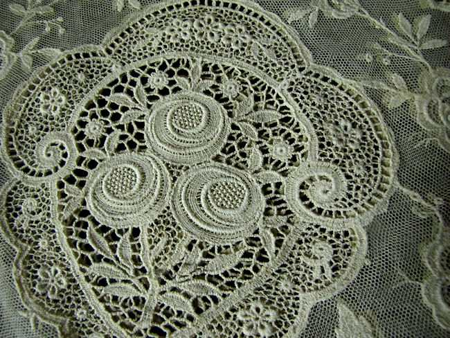 close up vintage antique lace tea cozy cover