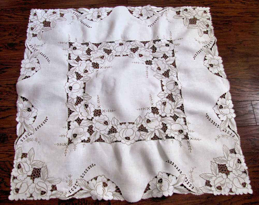 vintage antique tablecloth handmade lace and embroidery