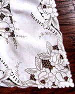 vintage antique handmade linen tablecloth lace and embroidery