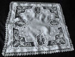 vintage antique table topper white linen handmade figural lace