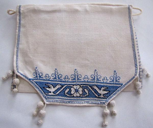 vintage antique linen drawstring bag blue figural Assissi embroidery