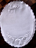 vintage antique hot plate pad white linen hand embroidered