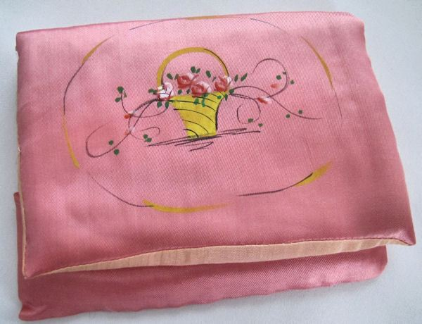 vintage antique hanky hand painted satin