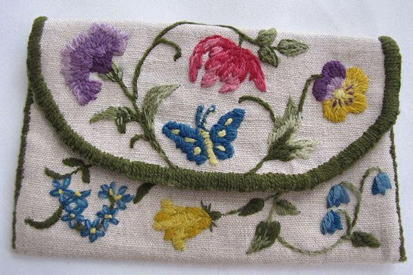 vintage hanky bag or purse handmade crewel work butterfly