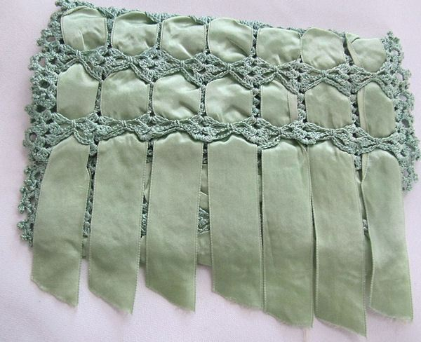 vintage antique hanky bag green ribbons and handmade lace