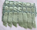 vintage hanky bag green satin ribbons handmade lace