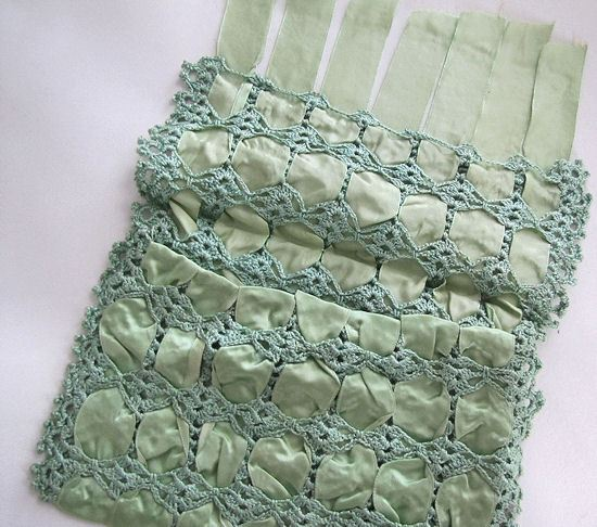 close up vintage antique hanky bag green ribbons and handmade lace