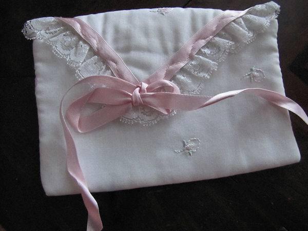 vintage antique white linen hanky bag pink ribbons rosebuds