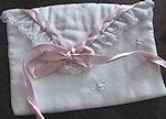 vintage hanky bag pink ribbons rosebuds