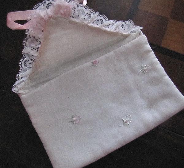 close up vintage antique white linen hanky bag pink ribbons rosebuds