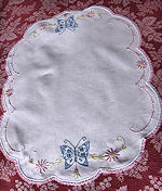 vintage antique table runner dresser scarf embroidered butterflies handmade lace