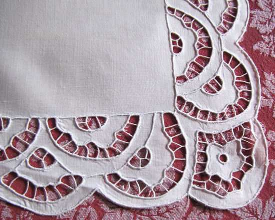 close up vintage antique white linen table runner dresser scarf cutwork lace