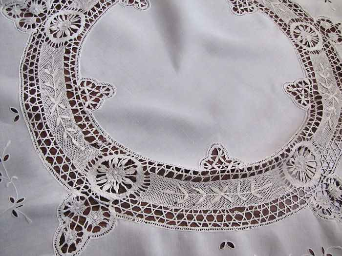 close up 3 vintage antique handmade round tablecloth Cluny and figural lace