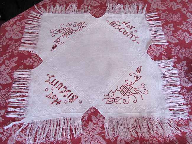 vintage antique linen roll cover redwork biscuits folk art fringe