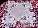 vintage antique linen roll or hot biscuits cover with redwork and fringe