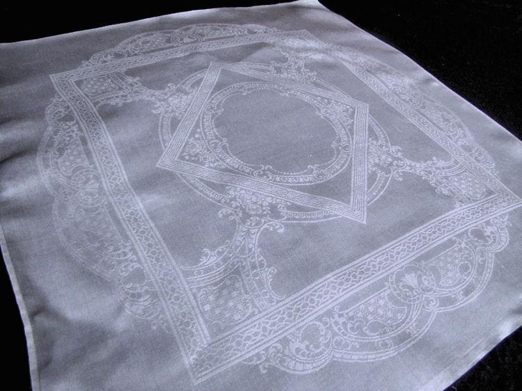 vintage white linen damask dinner napkins