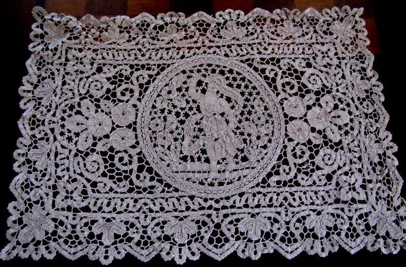 vintage antique figural cantu lace Placemats    style=