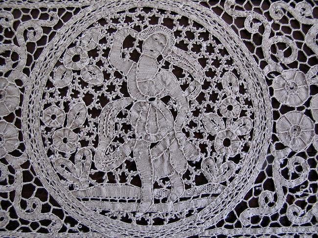 vintage antique figural lace placemats close up 2
