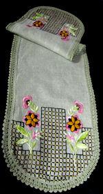 vintage antique table runner dresser scarf vivid embroidery