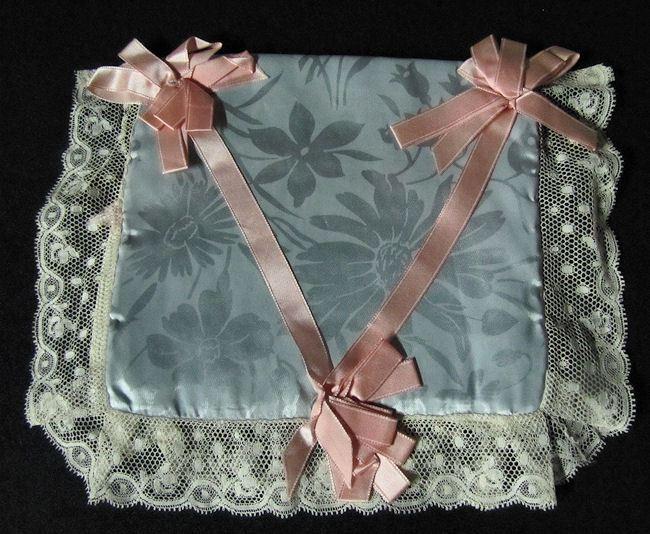 vintage hanky bag folder blue satin French lace