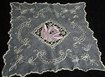 antique tambour lace doily with rose