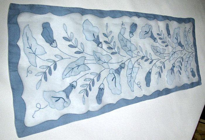 vintage handmade table linens set blue organdy placemats, napkins, table runner